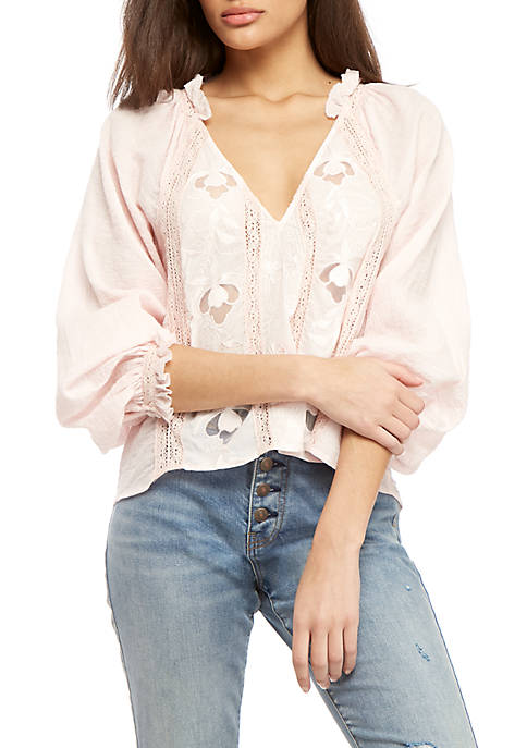 Free People Sivan Embroidered Top