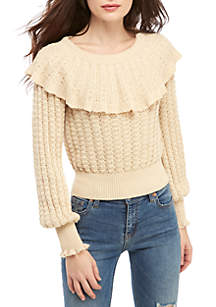 Free People Crazy In Love Ruffle Sweater