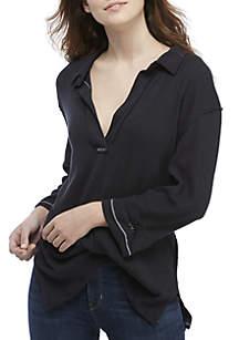 Anne Long Sleeve Rib Henley Top