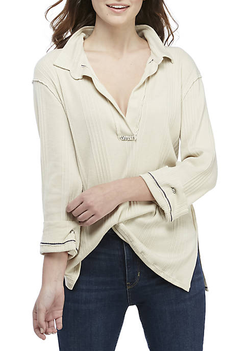 Free People Anne Long Sleeve Rib Henley Top