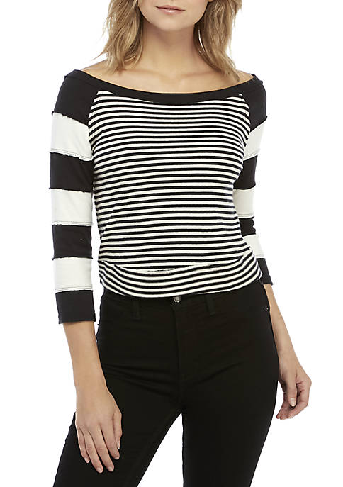 Free People First Mate Striped Elbow Sleeve Top