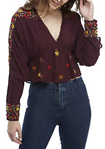 Free People Ava Embroidered Blouse