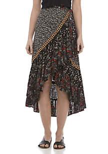 Free People Esmeralda Printed Wrap Skirt