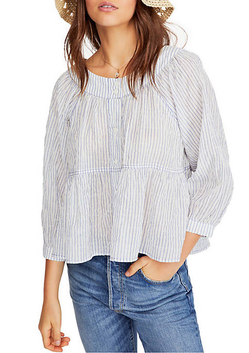 Free People Sea To Short Striped Blouse