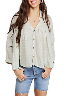 Free People Rainbow Picnic Button Down Top