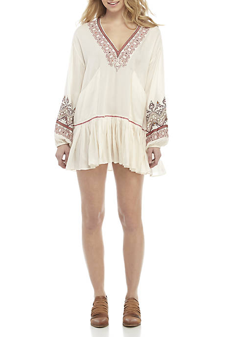 Free People Wild One Embroidered Mini Dress