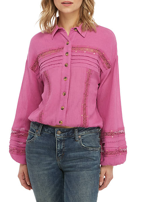 Free People Summer Stars Button Down Top