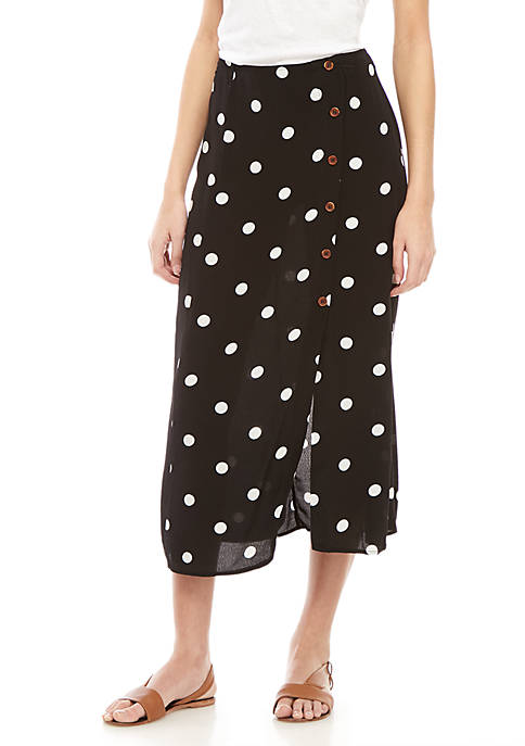 Free People Midi Retro Polka Dot Skirt