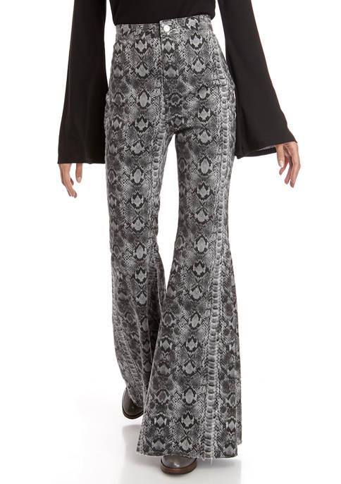 Free People Just Float On Printed Flare Jeans