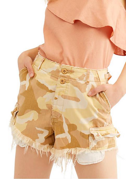 Free People Camo Commander Cut Off Shorts