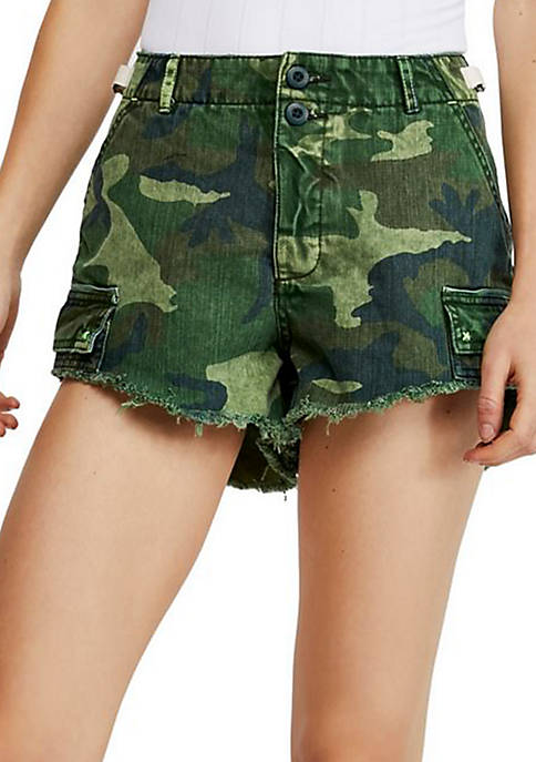 Free People Camo Commander Cut Off Shorts