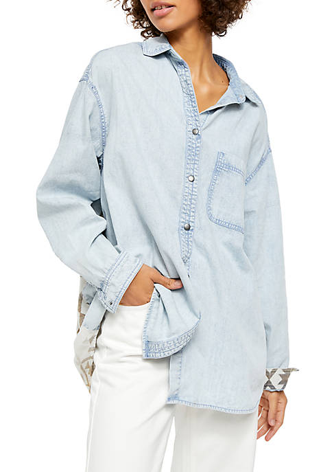 Free People Echo Rock Chambray Button Down Top