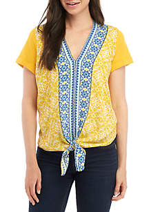 Fever Tie Front Border Print Knit Top