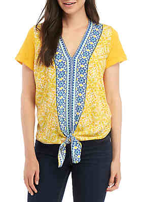 aff4344f625 Fever Tie Front Border Print Knit Top ...
