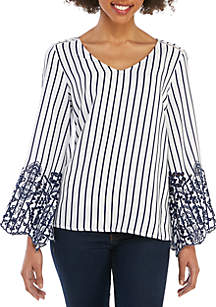 Fever Stripe V Neck Woven Top with Eyelet Trim
