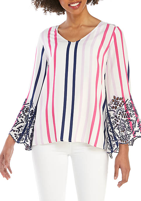 Fever Stripe V Neck Woven Top with Eyelet