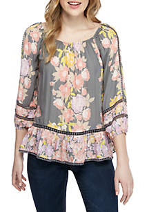 Fever Twin Print Floral Peasant Blouse