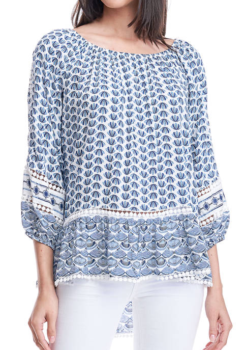 Fever Womens Twin Print Peasant Blouse