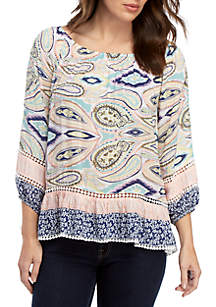Fever Twin Print Paisley Peasant Blouse