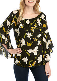 Fever Flutter Bell Sleeve Print Top