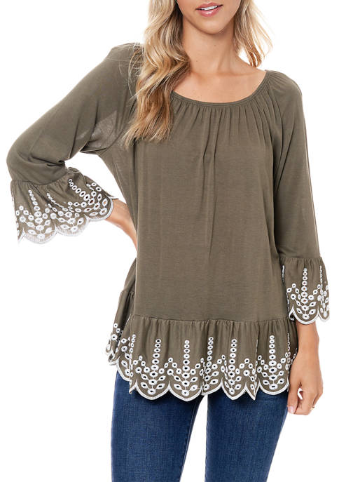 Womens Knit Top with Embroidery