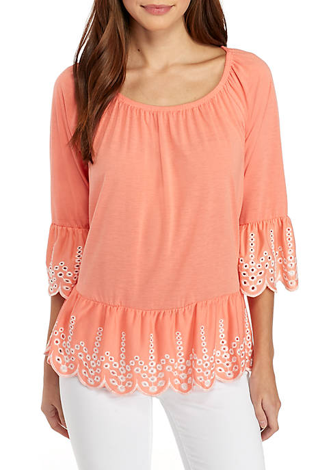 Cheap Fever Solid Embroidered Knit Top free shipping