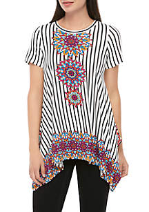 9f98a3edc747 Fever Crochet Lace Top · Fever Knit Tribal Print Shark Bite Top