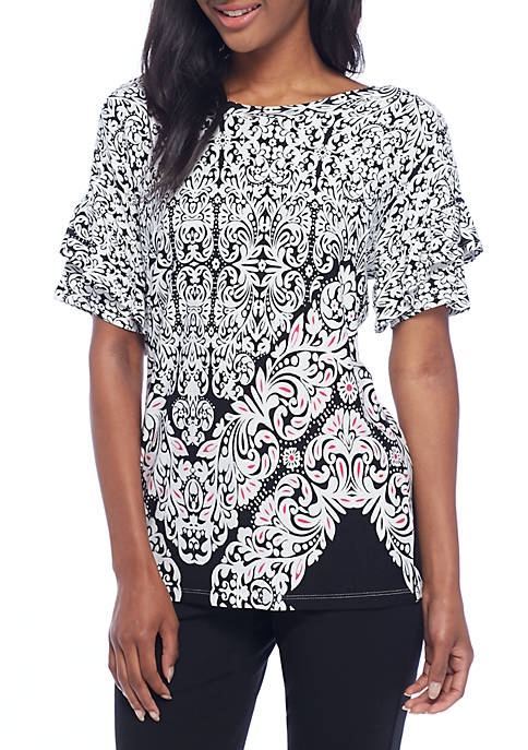 Fever Short Sleeve Print Knit Soul Window Top