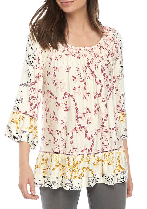 Fever Womens Blossom Print Peasant Top