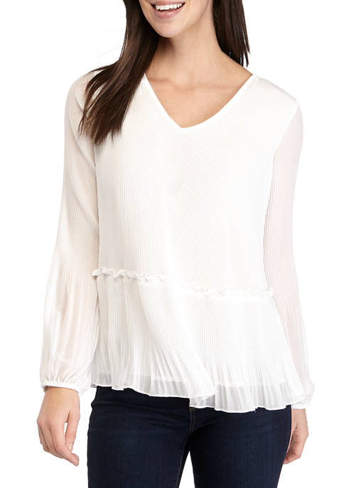 Fever Womens Woven Pleated Blouse
