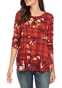 Long Sleeve Asymmetric Hem Print Top