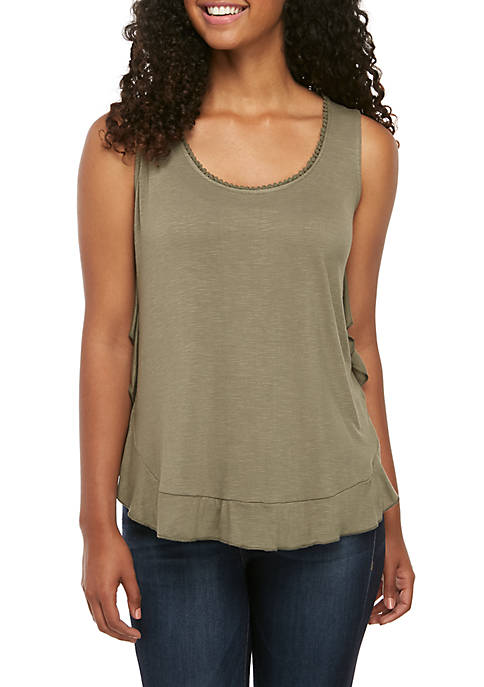 Fever Ruffled Solid Tank