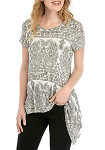 567f6fdab6389 Fever Symphony Sleeve Stripe Top · Fever Black and White Paisley Sharkbite  Top