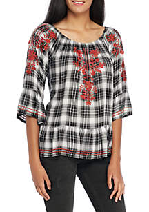 Three-Quarter Sleeve Plaid Top with Embroidery