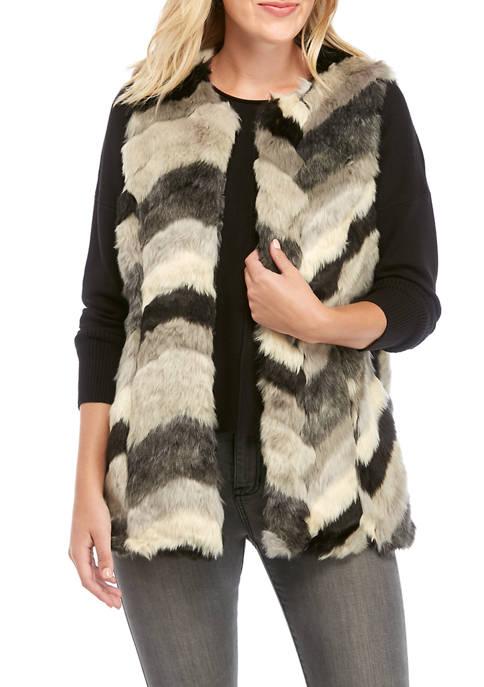 Fever Womens Multi Chevron Fur Vest