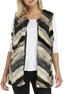 Multi-Color Stripe Fur Vest