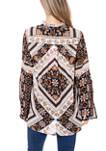 Womens Printed Peasant Tunic