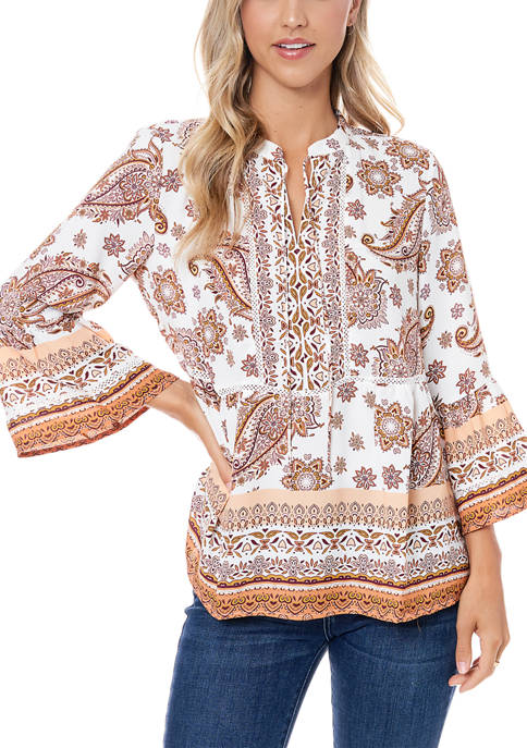 Fever Womens Printed Peasant Blouse