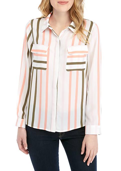 Fever Stripe Button Down Shirt