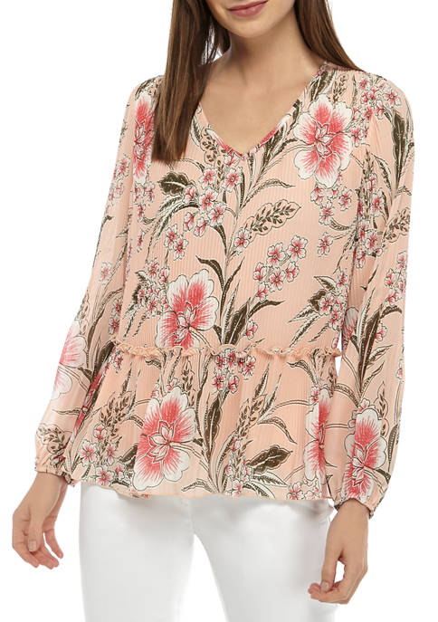 Womens Pleated Front Printed Woven Blouse