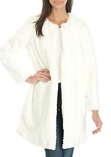 Texture Faux Fur Solid Jacket