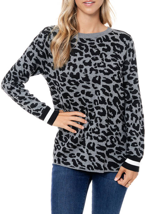 Womens Animal Print Jacquard Sweater