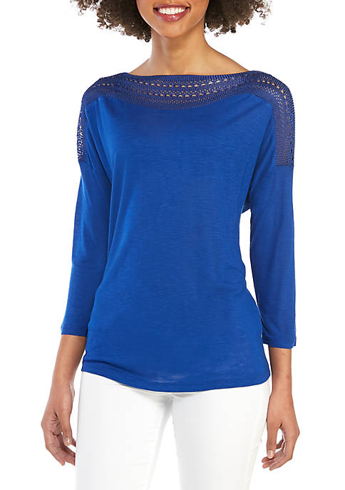Fever Crochet Sleeve Solid Knit Top