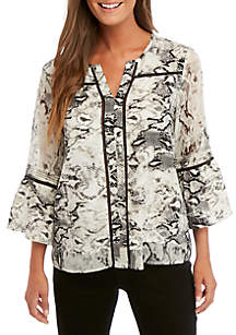 Fever Print Crinkle Top