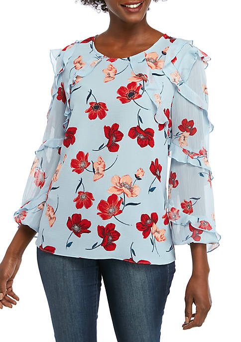 Fever Womens Ruffle Floral Woven Top
