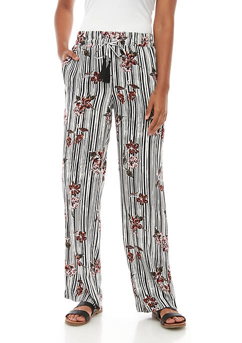 Fever Flowers and Stripes Woven Pants