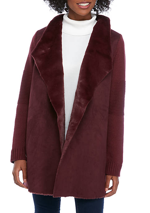 Fever Womens Fur Trim Jacket