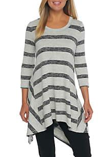 3/4 Sleeve Stripe High Low Tunic