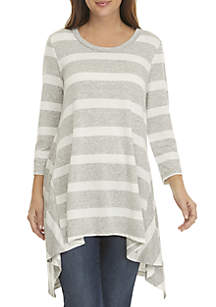Fever 3/4 Sleeve Stripe High Low Tunic