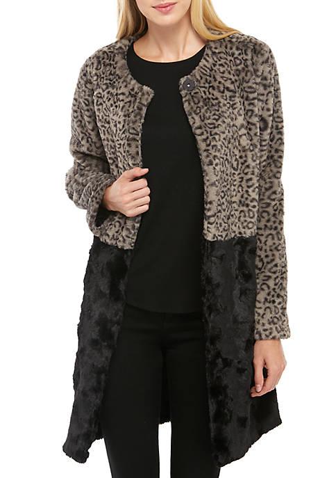 Fever Long Sleeve Color Block Leopard Faux Fur